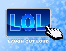 Lol Button Indicating Laugh Out Loud And Laugh Out Loud Stock Illustration