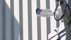 CCTV surveillance camera and warning sign Stock Footage
