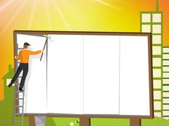 Billboard With Copyspace Representing Promote Advertisements And Advertiseme Stock Illustration
