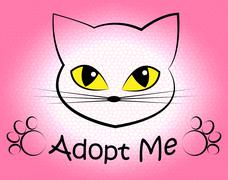 Cat Adoption Meaning Pets Puss And Adopting Stock Illustration