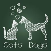 Cats Dogs Love Indicating Pup Fondness And Feline Stock Illustration