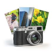 Photo camera and images isolated on white. Stock Illustration