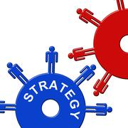 Strategy Cogs Showing Gear Wheel And Gearbox Stock Illustration