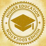 Higher Education Meaning Tertiary School And Stamps Stock Illustration