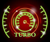 Turbo Gauge Indicating High Speed And Odometer Stock Illustration