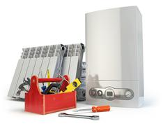 Heating system servicing or repearing concept. Gas boiler, radiators and tool Stock Illustration