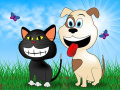 Cat With Dog Meaning Canines Puppies And Pedigree Stock Illustration