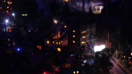 Fire in residential building at night Stock Footage