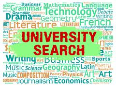University Search Meaning Educational Establishment And Researching Stock Illustration