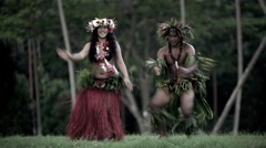 Young male and female in a group of Tahitian hula dancers performing outdoor Stock Footage