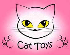 Cat Toys Showing Pets Plaything And Kitten Stock Illustration
