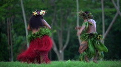 Polynesian man in warrior dress with girl in grass skirts and flower headdress Stock Footage