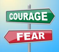 Courage Fear Showing Bravery Terrified And Courageousness Stock Illustration