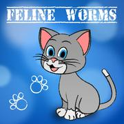 Feline Worms Meaning Domestic Cat And Pet Stock Illustration