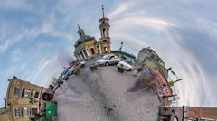 Little Tiny Planet 360 Degree Funicular Kiev Sights Service in City of Kiev Stock Footage