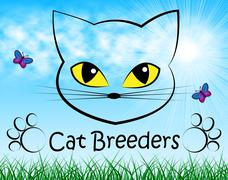 Cat Breeders Meaning Mate Feline And Mating Stock Illustration