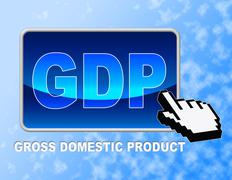 Gdp Button Representing Gross Domestic Product And Web Site Stock Illustration
