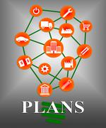 Plans Icons Representing Target Organizing And Planner Stock Illustration