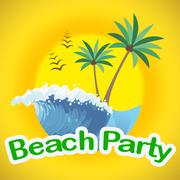 Beach Party Showing Seaside Seafront And Coasts Piirros