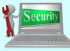 Security Secure Represents Protect Encrypt And Protected 3d Rendering Stock Illustration