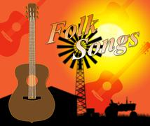 Folk Songs Showing Country Music And Ballard Stock Illustration