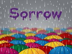 Sorrow Rain Representing Grief Stricken And Wet Piirros