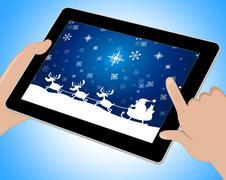Reindeer Santa Shows Winter Snow And Congratulation Tablet Stock Illustration