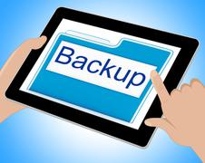 Backup File Shows Data Archiving And Administration Tablet Stock Illustration