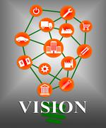 Vision Icons Indicating Businesses Visions And Mission Stock Illustration