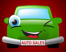 Auto Sales Meaning Passenger Car And Promotion Stock Illustration