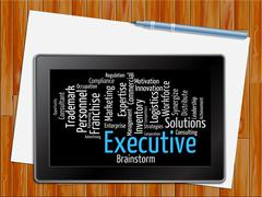 Executive Word Indicates Senior Manager And Md Tablet Stock Illustration