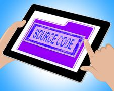 Source Code Indicates Administration Organized And Computer Tablet Stock Illustration