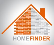 Home Finder Indicating Search For And Searching Stock Illustration