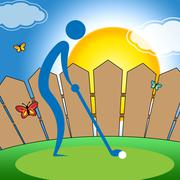 Man Teeing Off Indicating Golf Course And Recreation Stock Illustration