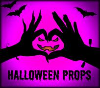 Halloween Props Showing Trick Or Treat And Ghost Haunted Stock Illustration