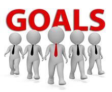 Goals Businessmen Shows Aim Commercial And Desire 3d Rendering Stock Illustration