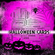 Halloween Cards Meaning Trick Or Treat And Haunted Celebration Stock Illustration