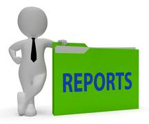 Reports Folder Shows Arranging Files And Data 3d Rendering Stock Illustration