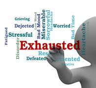 Exhausted Word Means Tired Out And Drained 3d Rendering Stock Illustration