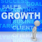 Growth Words Represents Advance Rising And Development 3d Rendering Stock Illustration