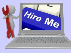 Hire Me Computer Key Showing Work And Careers Search Online Stock Illustration