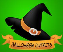 Halloween Outfits Indicating Trick Or Treat And Haunted Clothing Stock Illustration