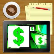 Dollar Symbol On Cubes American Earnings Tablet Stock Illustration