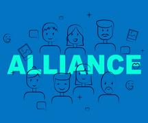 Alliance Of People Indicating Cooperation Agreement And Partner Stock Illustration