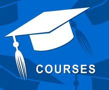 Courses Mortarboard Showing Training Educate And Hat Stock Illustration