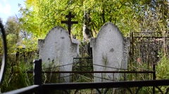 Two Tombstones In The Cemetery Stock Footage