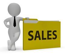 Sales Folder Shows Office Organization And Consumerism 3d Rendering Stock Illustration