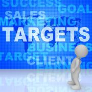 Targets Words Represents Projection Business And Aiming 3d Rendering Stock Illustration