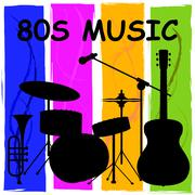 Eighties Music Showing Sound Track And Melody Stock Illustration