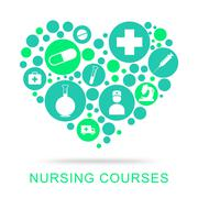 Nursing Courses Representing Nurse Job And Caregiver Stock Illustration